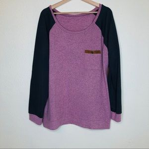 Pink and Gray Pullover Sweater w/Suede Elbow Patch